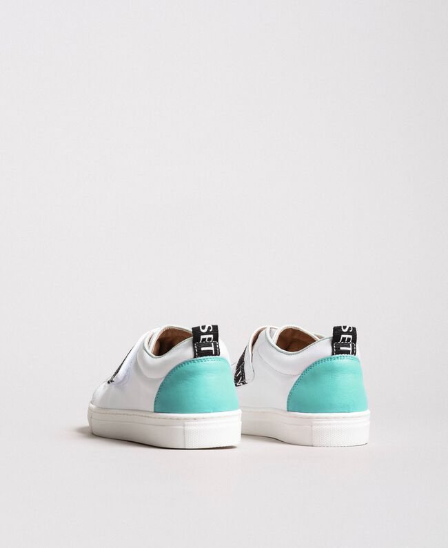 "Leather sneakers with logo ""Island Paradise"" Light Blue Child 191GCJ034-03"