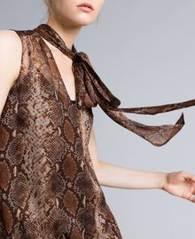 Long animal print chiffon silk dress Chocolate Snake Print Woman PA829C-04