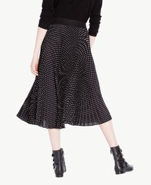 Medium length polka dot skirt Black Polka Dot Print / Ivory Woman PS82L2-03