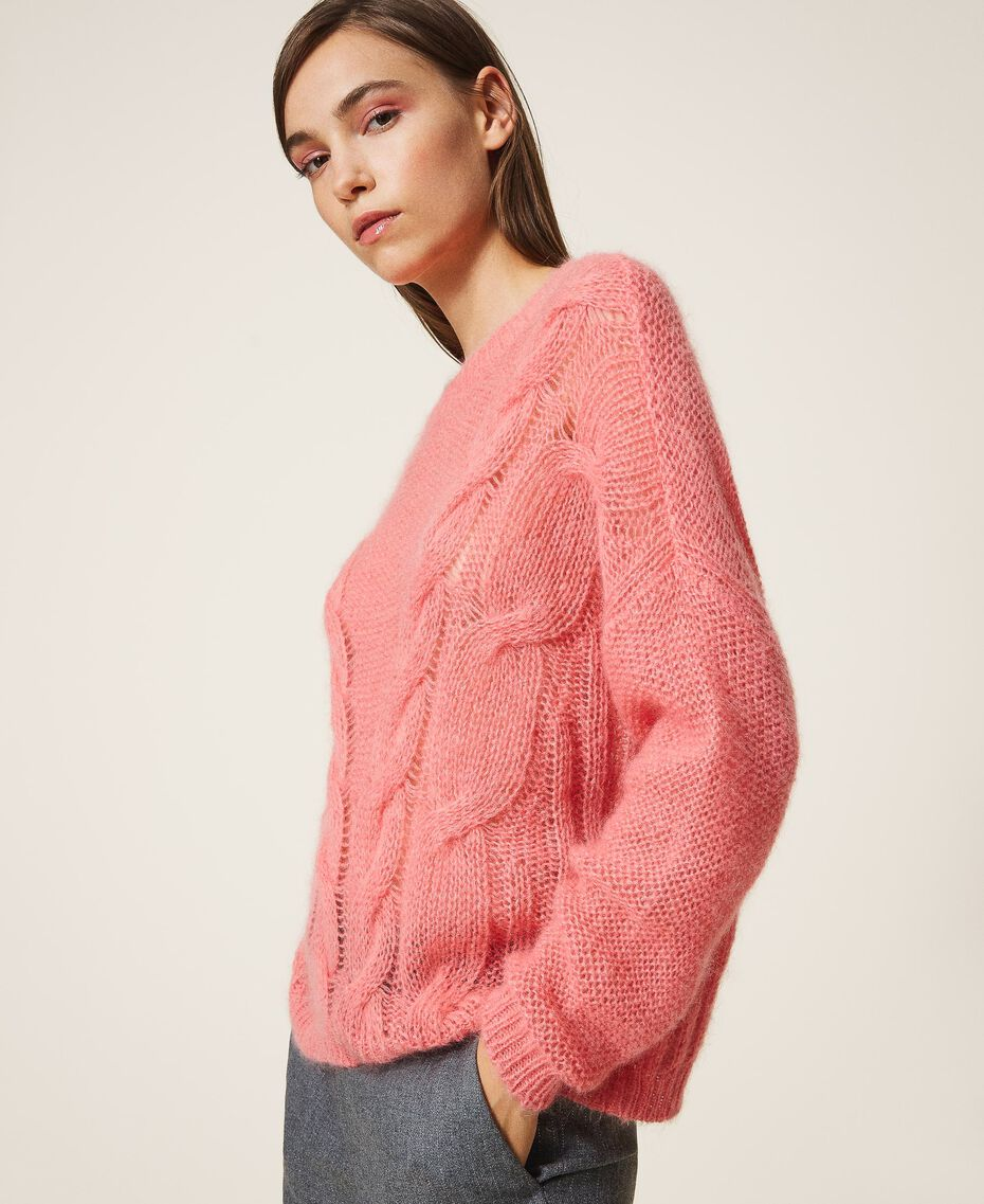 Cable knit mohair jumper Creamy White Woman 202TP3191-01