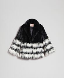 Two-tone faux fur jacket Black Woman 192TP2391-0S