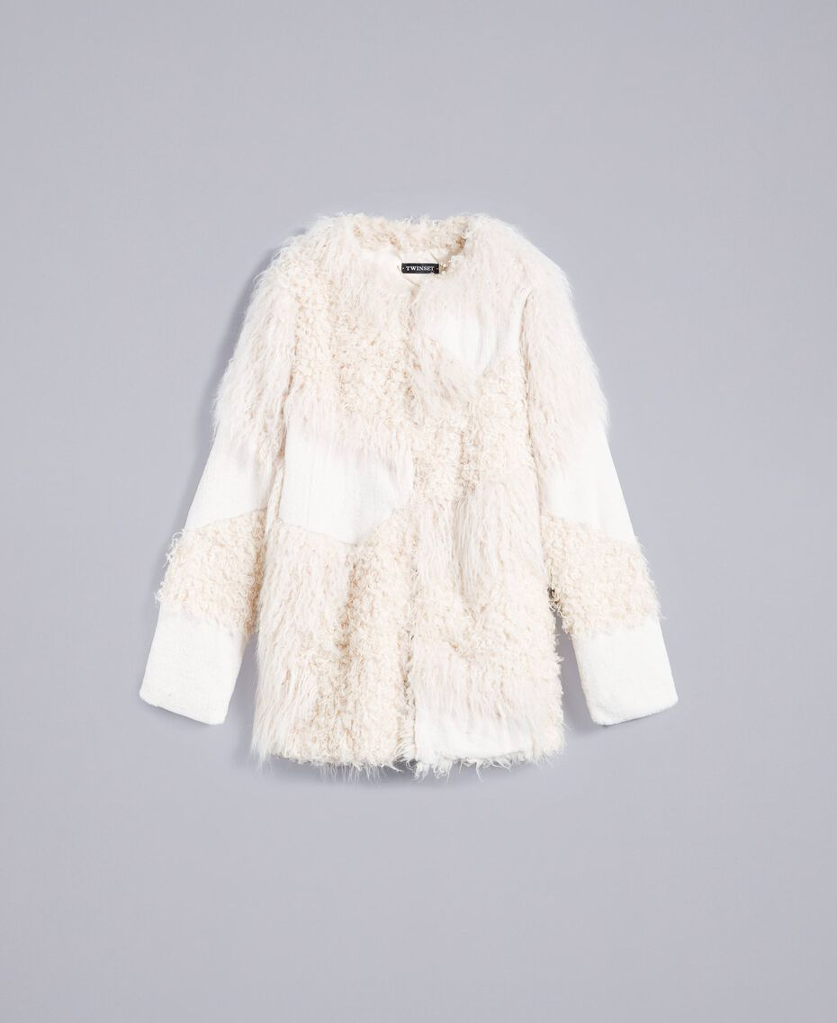 Cappotto in similpelliccia patch Bianco Neve Donna TA82A1-0S