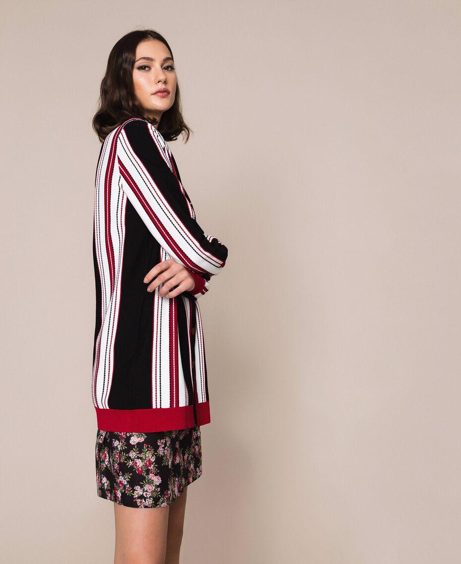 """Striped maxi cardigan Multicolour Vanilla / Black / """"Venetian"""" Red Woman 201MP3050-02"""