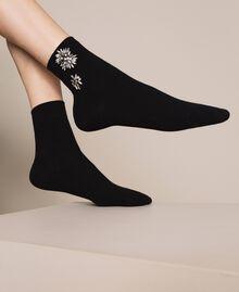 Socquettes ornées de fleurs brodées Noir Femme 201TA4416-0S