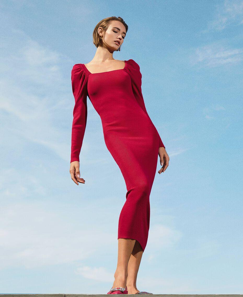 "Knit sheath dress ""Cerise"" Fuchsia Woman 202MP3055-01"