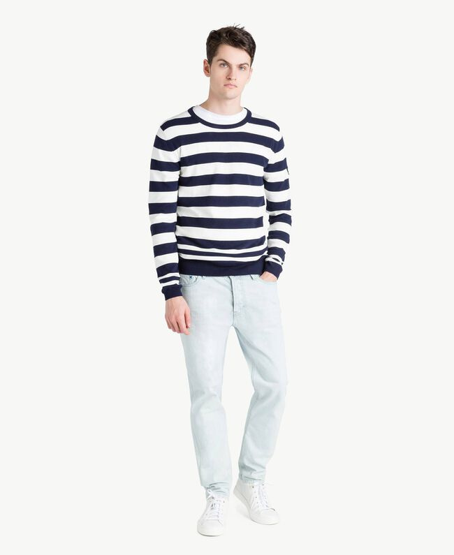 Pull rayures Bicolore Blanc Opaque / Bleu Blackout Homme US8317-05