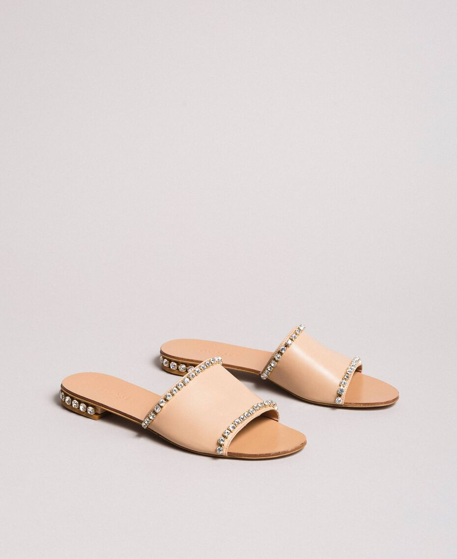"Sandales en cuir ornées de strass Beige ""Nude"" Femme 191TCT094-01"