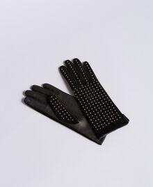 Gants en cuir velours avec clous Bicolore Noir / Or Femme AA8P3F-01