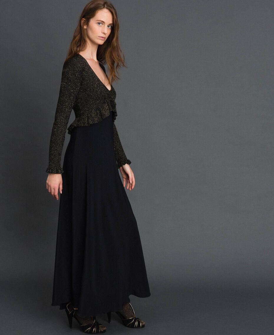 Lurex and silk blend long dress Black Lurex Woman 192TT3170-02