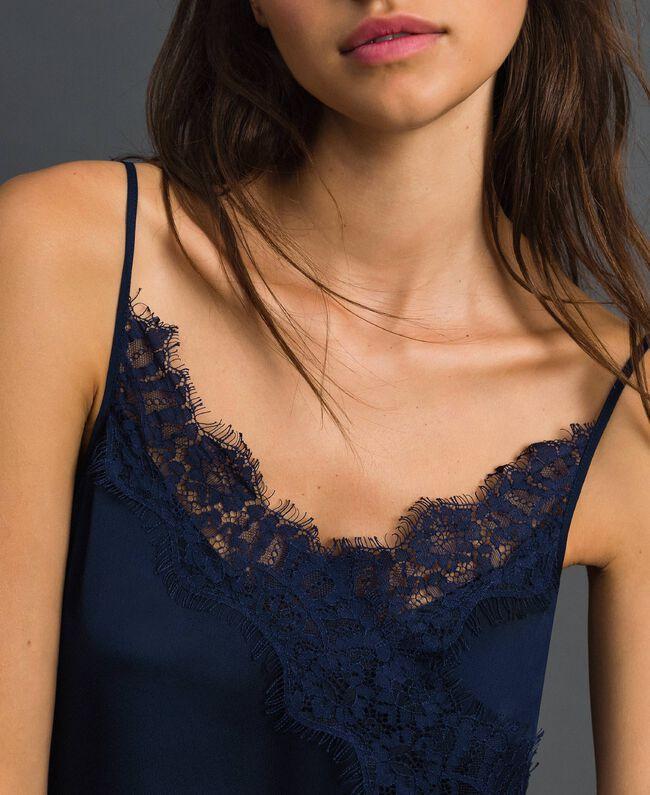 Robe nuisette avec dentelle festonnée Bleu Nuit Femme 192ST2092-04