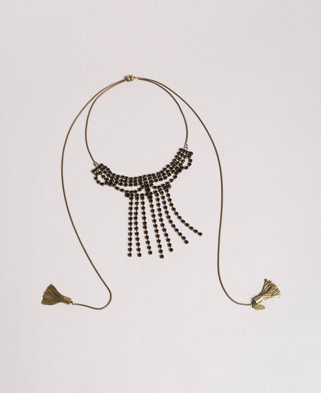 Choker with rhinestones and metal tassels Black Woman 191TO5341-01
