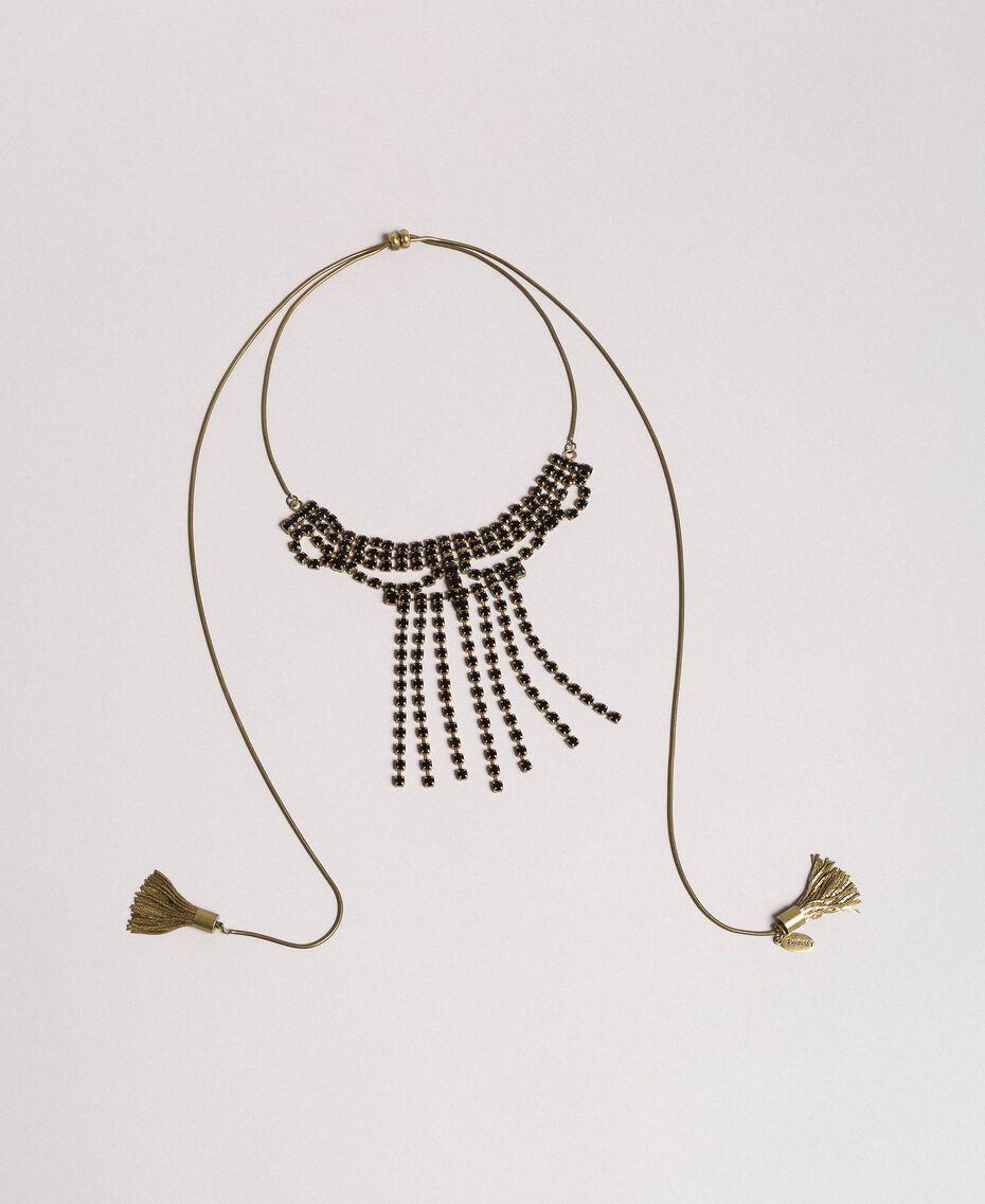 Collier chocker orné de strass et de pompons métalliques Noir Femme 191TO5341-01