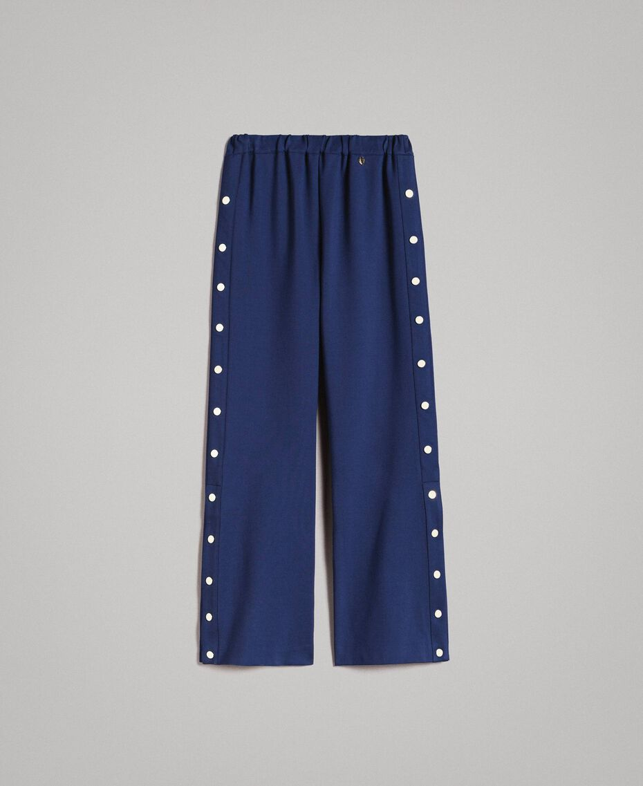 Drainpipe trousers with side slits and buttons Indigo Woman 191MP2155-0S