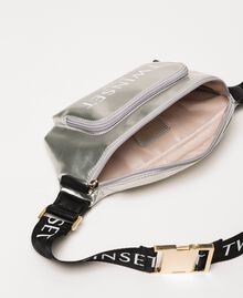 Vinyl effect faux leather belt bag Titanium Gray Woman 201TA7179-04