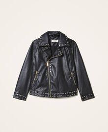 Куртка из искусственной кожи со звездочками Черный Pебенок 202GJ2830-0S