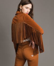 Faux leather biker jacket with fringes Leather Brown Woman 191LB2DBB-01