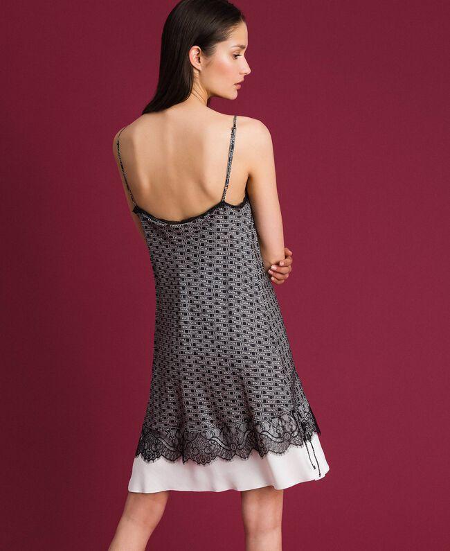 """Slip dress with logo print Black / """"Snow"""" White Logo Print Woman 192TP258B-03"""