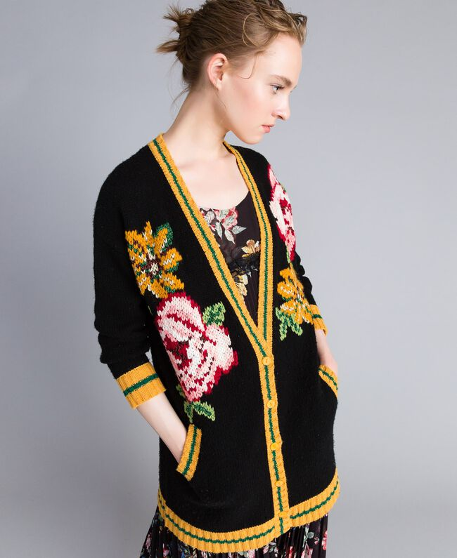 Maxi wool blend cardigan Black Woman PA83HN-01