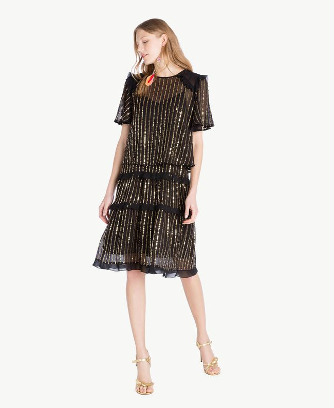 Kleid und Bluse mit Pailletten Schwarz Frau TS82WP-01