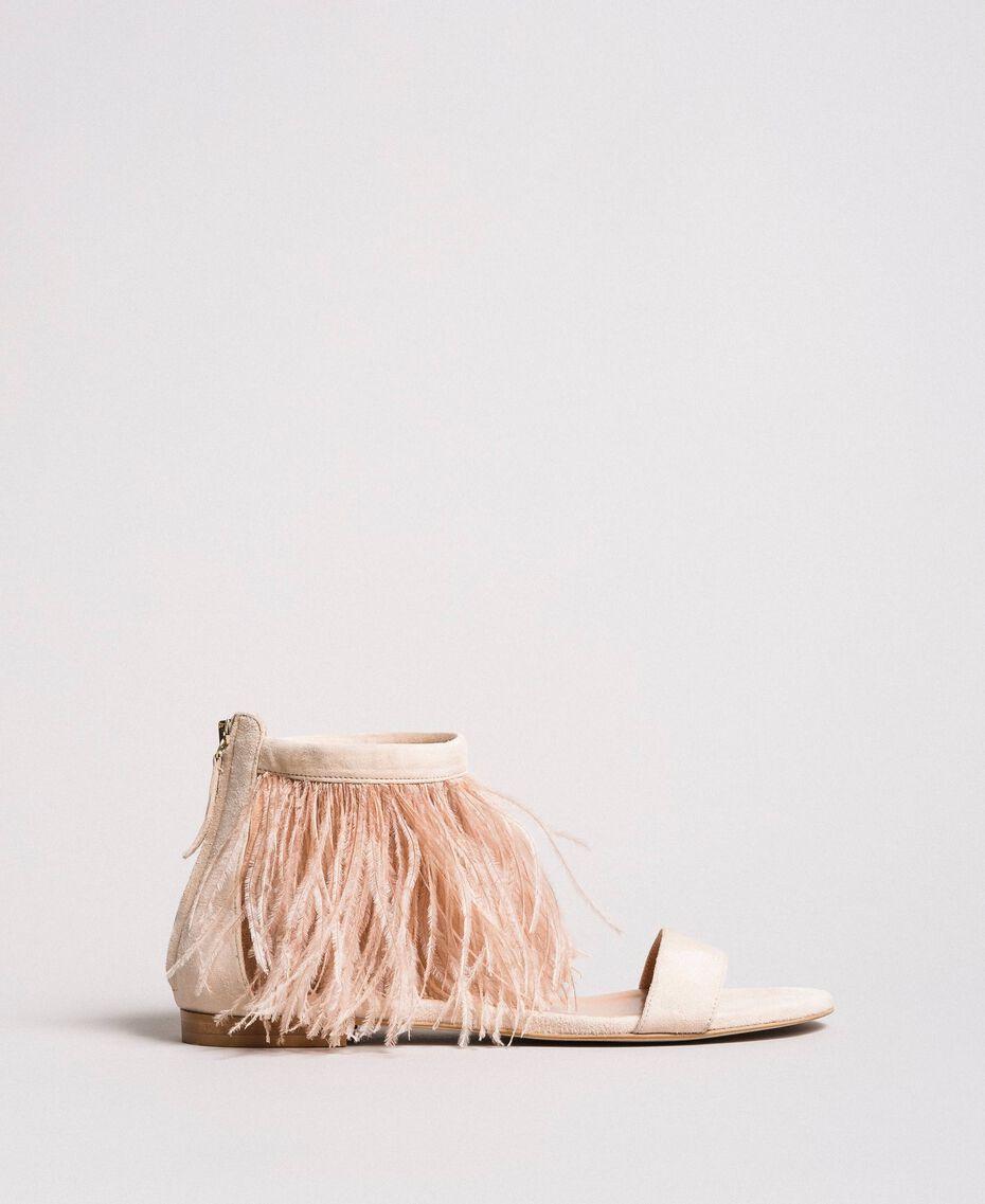 Sandales plates à plumes Rose Bouton Femme 191TCP212-02