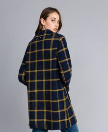 "Jacquard all-over checked coat Bicolour Night Blue / ""Golden Yellow"" Woman YA83HA-04"