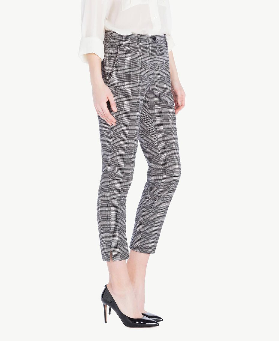 Check drainpipe trousers Jacquard Gingham Woman PS827P-02