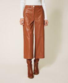 Pantalón cropped de piel sintética Azul Blackout Mujer 202LI2GAA-02