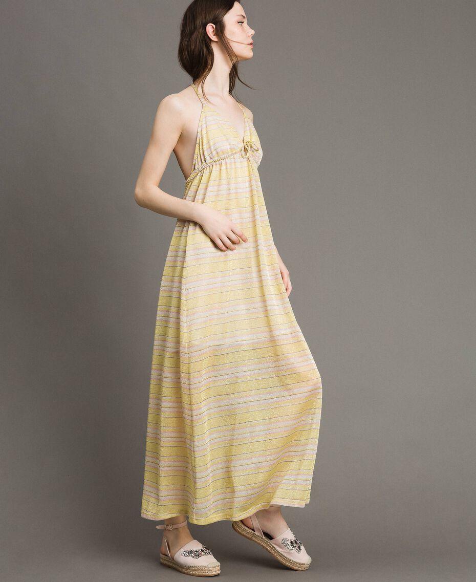 """Robe longue avec rayures lurex Rayures Multicolores Marron """"Poudre De Bronze"""" / Jaune """"Jus De Citron"""" Femme 191LB2AFF-02"""