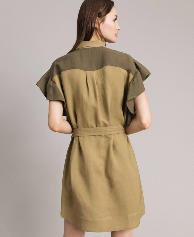 "Natural canvas two-tone shirt dress Two-tone ""Olive"" Green / Antique Bronze Woman 191TT2440-04"