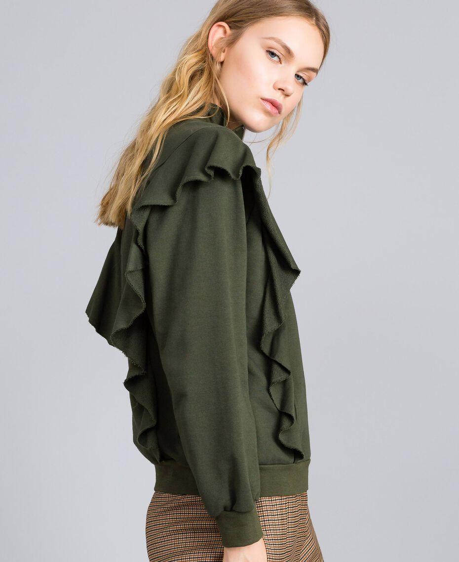 Sweatshirt aus Baumwolle mit Rüschen Waldgrün Frau TA82ZC-02