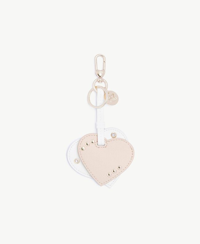Heart keychain Two-tone Soft Pink / Optical White Woman RS8TDN-01
