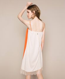 Robe nuisette avec dentelle Bicolore Orange «Calendula» / Blanc Cassé Femme 201MT2282-05