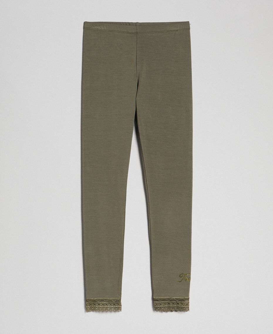 Legging en jersey avec dentelle Vert Alpin Enfant GCN2F4-0S