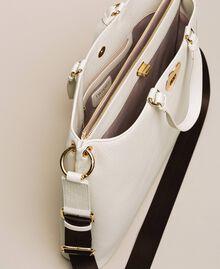 Grand cabas en cuir orné d'un cœur Blanc Neige Femme 201TA7052-05