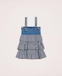 Denim dress with gingham flounces Two-tone Medium Denim / Vichy Mix Child 201GB2012-01