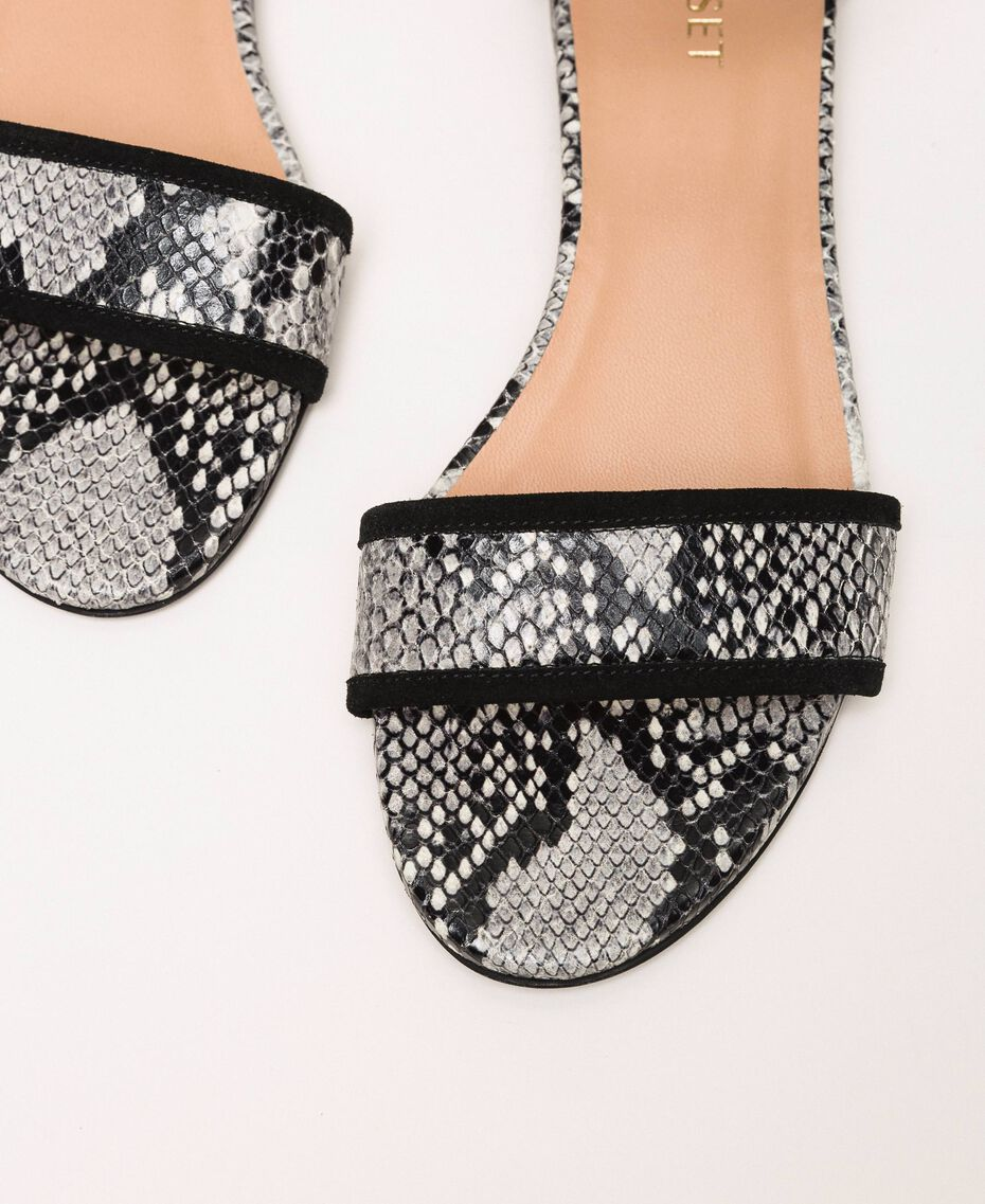 Flat leather sandals with python print Two-tone Pale Rock Python Print / Black Woman 201TCP020-03