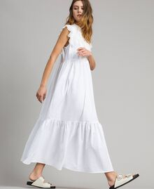 Poplin long dress with ruches White Woman 191TT2262-03