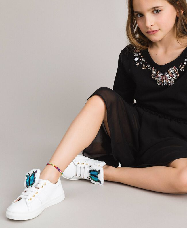 Leather sneakers with butterfly patch Pale Cream Child 191GCJ140-0S