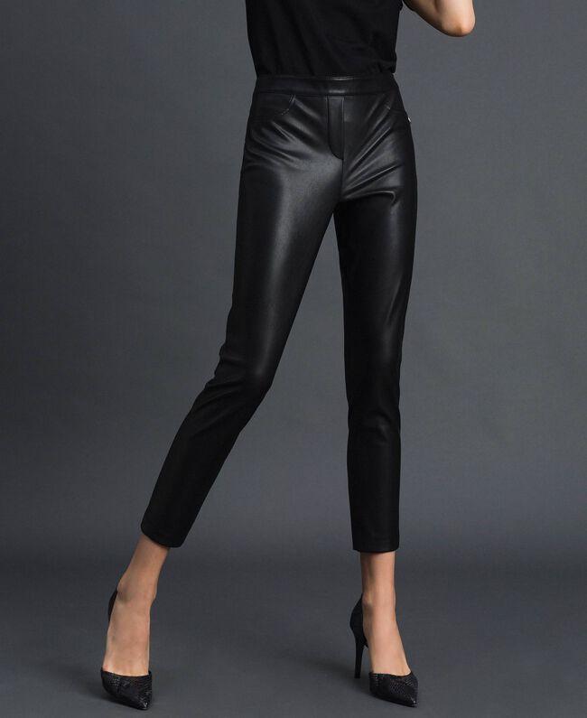 Legging en similicuir Noir Femme 192MP2025-01