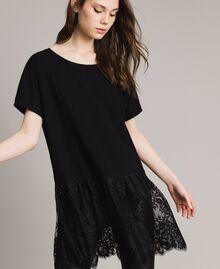 Maxi t-shirt avec dentelle Blanc Femme 191TP260G-04