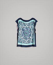 Шарф-блуза из крепдешина с принтом Ночной Синий Принт Для Шарфа женщина 191MT2122-0S