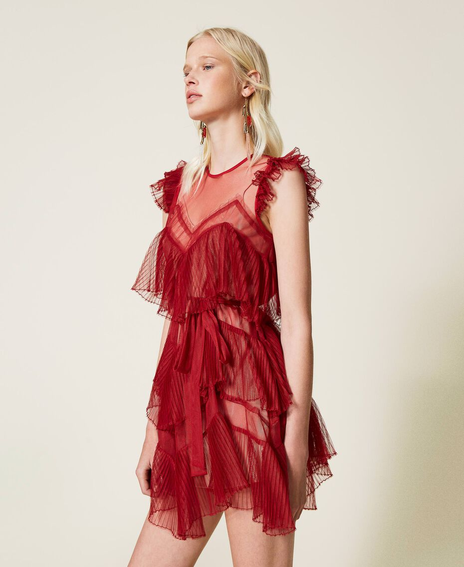 Pleated flounce short tulle dress Dark Raspberry Woman 212TP2201-02