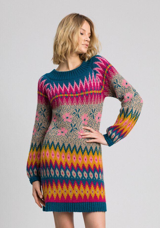 Mini-robe jacquard multicolore