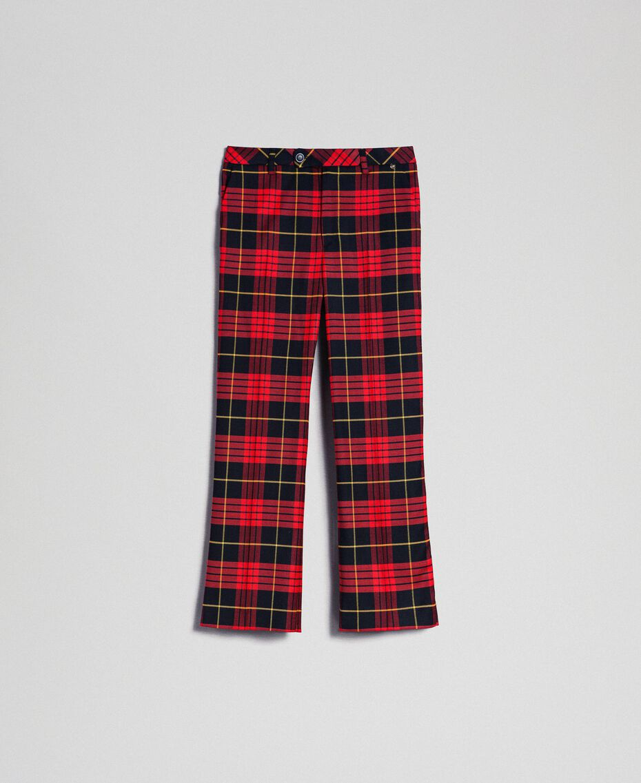 Flared trousers in chequered wool Pomegranate Tartan Jacquard Woman 192TP2623-0S