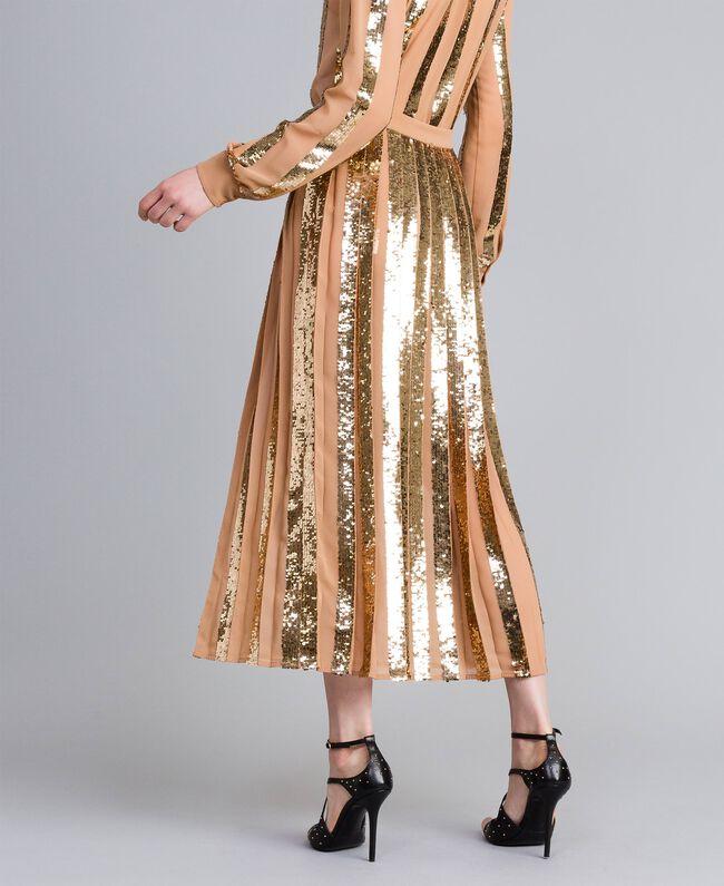 Jupe mi-longue en crêpe georgette avec paillettes Chameau Femme PA82J3-03