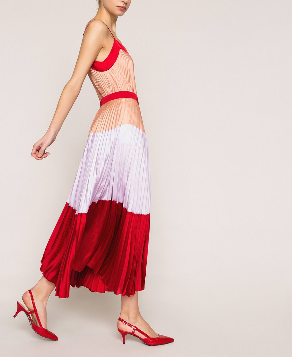 "Pleated long satin skirt Multicolour ""Lava"" Red / ""Ballerina"" Purple / Nude Pink Woman 201TP2313-02"