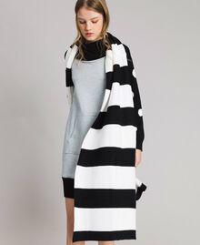Écharpe jacquard rayée en coton Bicolore Noir / Blanc Femme 191MA4301-0S