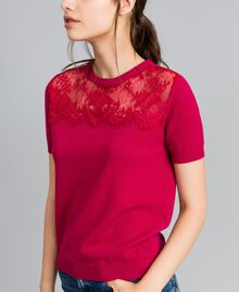 "Wool and cashmere jumper with lace ""Azalea"" Fuchsia Woman TA83AK-04"