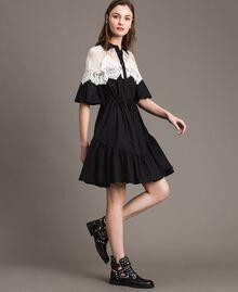 Popeline-Hemd-Kleid mit Spitzeneinlagen Schwarz Frau 191TT2121-02