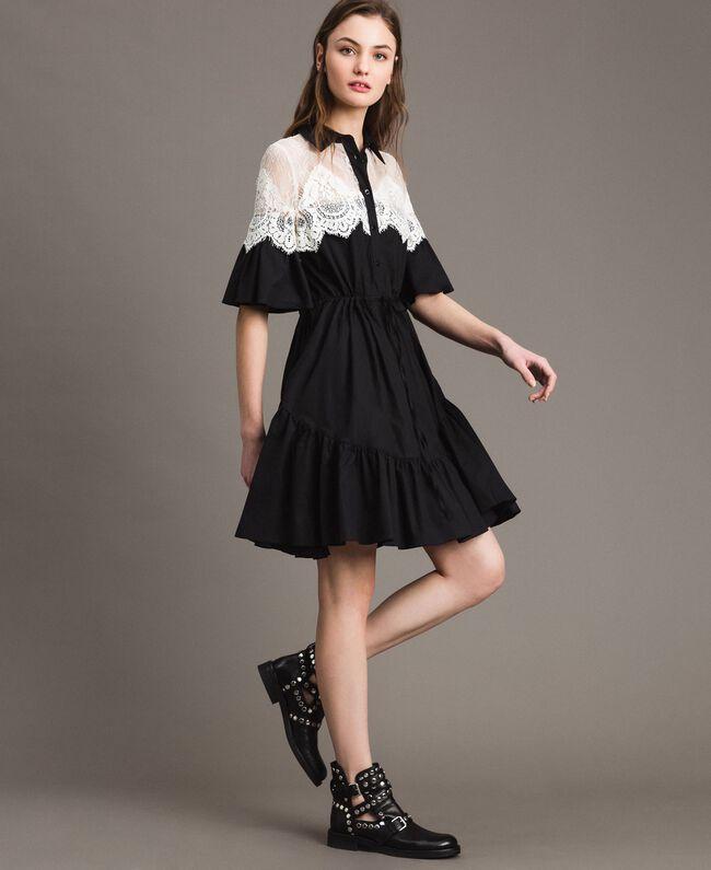 bfcb294c08a Robe chemise en popeline avec incrustations de dentelle Noir Femme  191TT2121-02